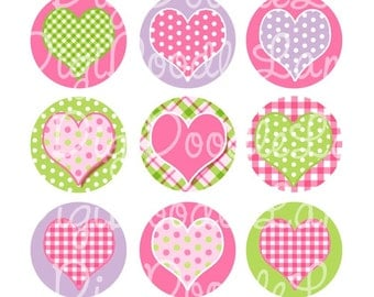 Patterned Hearts Valentine Bottlecap Images 1 Inch Circles Collage Sheet for Bottlecaps Hairbows Jewelry Magnets & More INSTANT DOWNLOAD