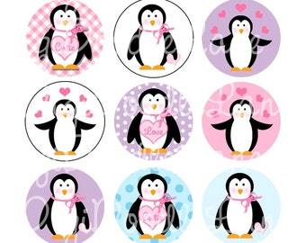 Valentine Penguins 1 Inch Circles Collage Sheet 4 x 6 Inch JPG for Bottlecaps Hairbows Jewelry Magnets and More