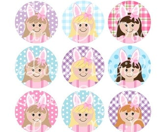 Easter Girls with Bunny Ears Easter Bottlecap Images Easter Bottle Cap Images for Bottlecaps Hairbows Jewelry Magnets INSTANT DOWNLOAD