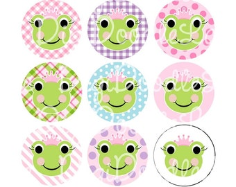Frog Princess Bottlecap Image 1 Inch Circles Collage Sheet 4 x 6 Inch JPG for Bottlecaps Hairbows Jewelry Magnets and More INSTANT DOWNLOAD