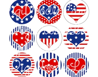 Patriotic Hearts 4th of July Bottlecap Images Bottle cap Images 4th of July BottleCap Images Hairbows Jewelry Magnets INSTANT DOWNLOAD