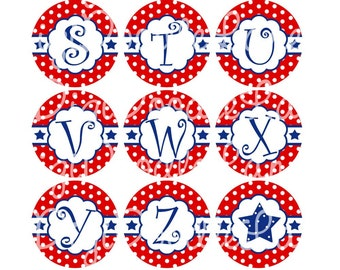 Scallop Circle Initials with Blue Stars Bottle Cap Images for Bottlecaps Bows Jewelry-4th of July Bottlecap Images INSTANT DOWNLOAD