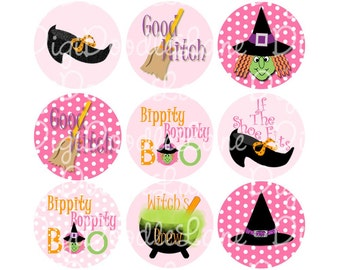 Halloween Pink and Green Witch 1 Inch Circles Collage Sheet 4 x 6 Inch JPG for Bottlecaps Hairbows Jewelry Magnets and More INSTANT DOWNLOAD