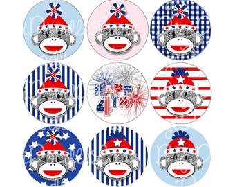 Patriotic Sock Monkeys 4th of July Bottlecap Images Bottle Cap Images for Bottlecaps Hairbows Jewelry Magnets and More INSTANT DOWNLOAD