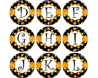 Halloween Alpha Set Bottlecap Images Black with Orange and Yellow Dots Halloween Initial Monogram for Bottlecaps & Hairbows INSTANT DOWNLOAD