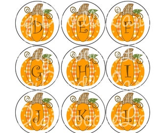Gingham Plaid Pumpkin Initials Bottlecap Images Fall Alphabet Set Pumpkin Initials Bottlecaps Hairbows Jewelry Magnets INSTANT DOWNLOAD