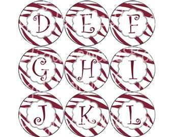 Maroon Zebra Stripe with Maroon Letters Bottlecaps Alpha Set Bottle Caps for Bottlecaps Hairbows Jewelry Magnets INSTANT DOWNLOAD