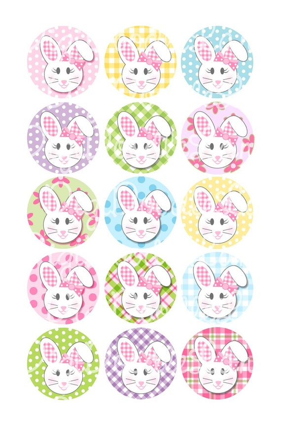 Easter Floppy Ear Bunny Girl With Bows Bottlecap Images 1 Inch Circles  for Bottlecaps Hairbows Jewelry Magnets and More INSTANT DOWNLOAD