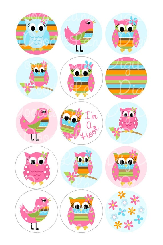 Cute Hoot Owls and Birds 1 Inch Circles Collage Sheet 4 x 6 Inch JPG for Bottlecaps Hairbows Jewelry Magnets and More INSTANT DOWNLOAD