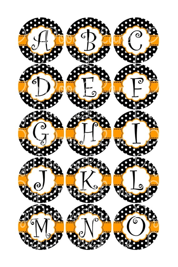 Halloween Initial Set Bottlecap Images Halloween Initials Black and White Dot with Orange Accents for Bottlecaps & Hairbows INSTANT DOWNLOAD