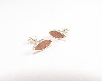 Pink Ear Studs, Sterling Silver Earrings, Small Seeds, Modern, Contemporary