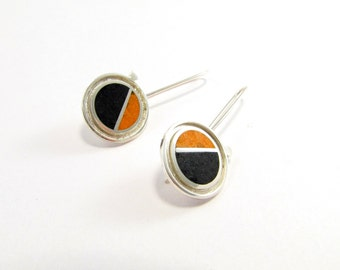 Sterling Silver Earrings, Satélite, Black and Orange, Geometric, Modern, Contemporary