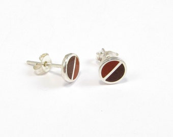 Sterling Silver Earrings, Maroon and Chocolate, Divided Circles, Brown, Modern, Contemporary