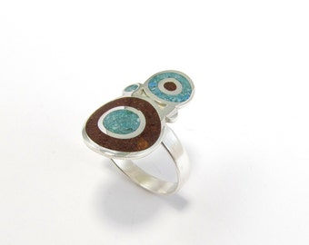 Sterling Silver Ring, Turquoise, Chocolate, Bubbles, Contemporary, Modern