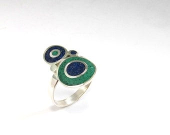 Sterling Silver Ring, Blue, Green, Color, Bubbles, Contemporary, Modern