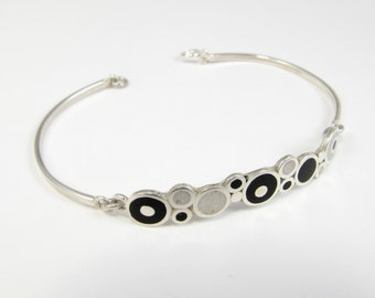 Sterling Silver  Bracelet, Black and White Bubbles, Modern Bracelet