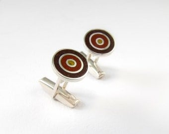 Sterling Silver Cuff Links, Concentric, Circles, Brown, Chocolate, Maroon, Modern, Contemporary