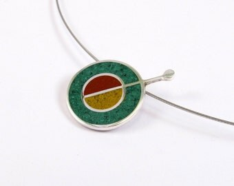 Sterling Silver Pendant, Geometric, Green, Mustard, Maroon, Contemporary, Modern