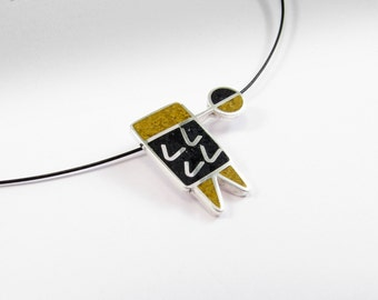Sterling Silver Pendant - Geometric Design - Mustard and Black