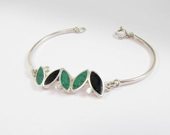 Sterling Silver Bracelet, Small Seeds, Black, Green, Modern, Contemporary, Color