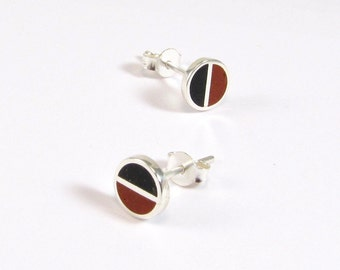 Sterling Silver Earrings, Black and Maroon, Divided Circles, Modern, Contemporary, Minimal