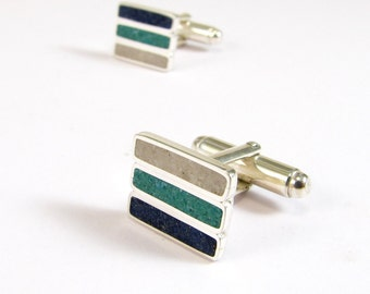 Sterling Silver Cuff Links, Blue, Turquoise, White, Modern, Contemporary