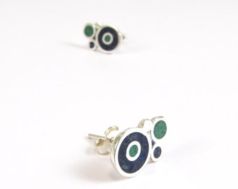 Sterling Silver Earrings, Blue and Green  Bubbles, Ear Studs, Modern, Contemporary