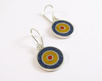 Sterling Silver Earrings, Colorful Circles, Primary Colors Earrings