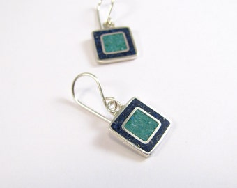 Blue Square Earrings, Sterling Silver Earrings, Blue and Turquoise