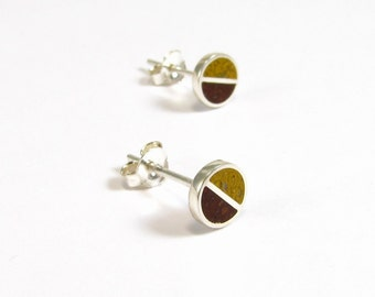Sterling Silver Earrings, Chocolate and Mustard Colors, Divided Circles, Ear Studs, Modern, Contemporary