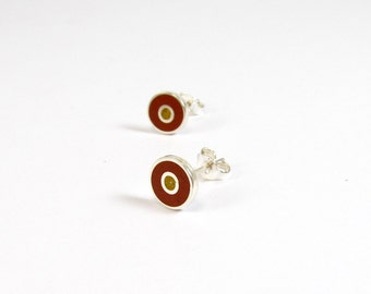 Sterling Silver Earrings, Modern minimal Ear Studs, Contemporary Jewelry, Concentric Color Discs, Maroon and Mustard