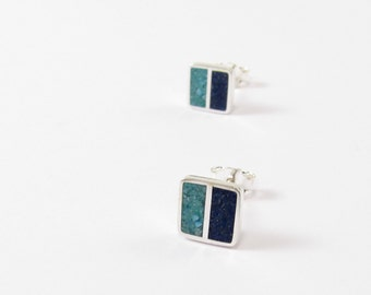 Sterling Silver Earrings, Square Stud, Blue and Turquoise, Modern, Contemporary, Geometric