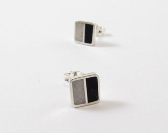 Sterling Silver Earrings, Black and White, Squares, Ear Studs, Modern, Contemporary, Minimal