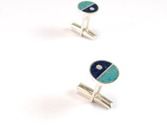 Sterling Silver Cuff Links, Divided Circles, Geometric, Blue, Turquoise, Modern, Contemporary