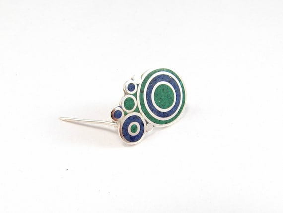 Sterling Silver Brooch, Blue, Green, Bubbles, Modern, Contemporary