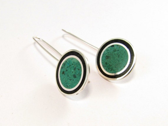 Sterling Silver Earrings, Black and Green Circles, Dangle, Modern, Contemporary