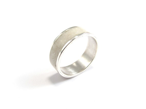 White Wedding Band, Sterling Silver Ring, Stone Inlay, Contemporary, Modern, Minimal