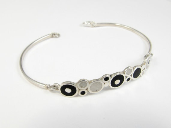 Black and White Bubbles - Sterling Silver  Bracelet