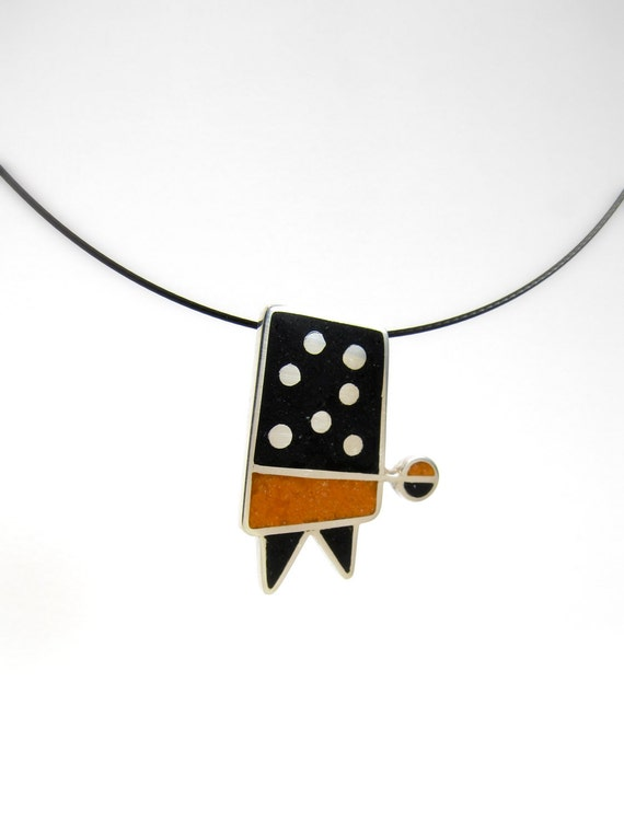 Sterling Silver Pendant - Geometric  -   Black and Orange - OOAK