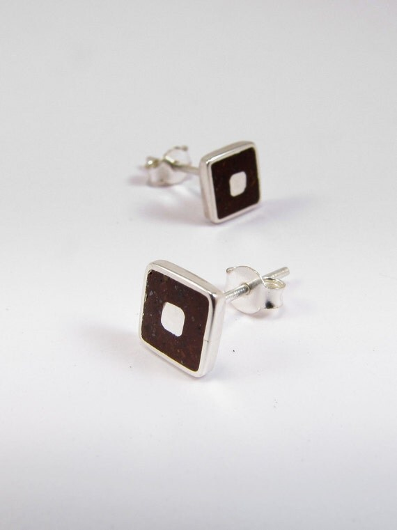Sterling Silver Earrings, Silver Squares, Brown, Chocolate, Modern, Contemporary, Minimal
