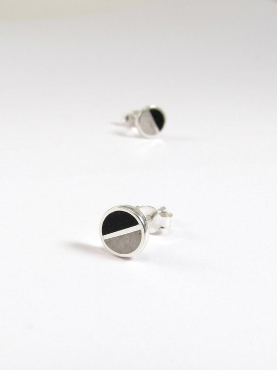 Sterling Silver Earrings , Black and White , Divided Circles, Modern, Contemporary