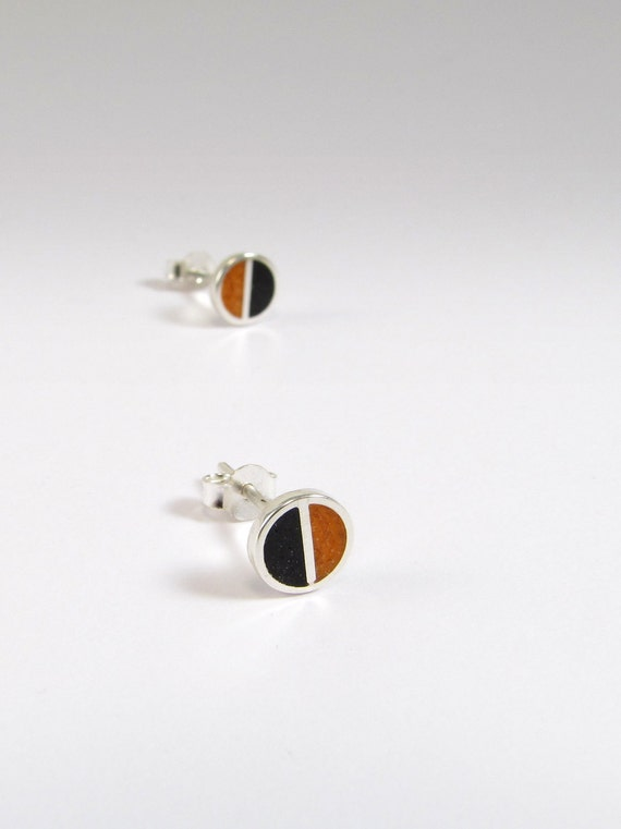 Sterling Silver Earrings, Black and Orange, Divided Circles, Modern, Contemporary, Minimal
