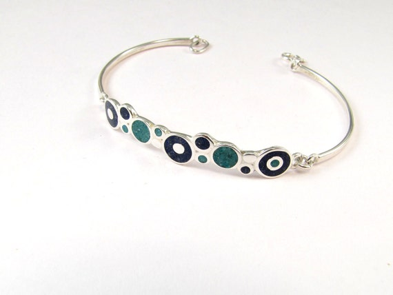Sterling Silver Bracelet, Blue, Turquoise, Color, Bubbles, Modern, Contemporary