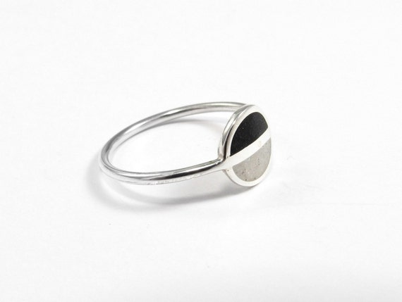 Saturn, Minimal Ring, Sterling Silver Ring, Modern, Black, White, Contemporary Jewelry