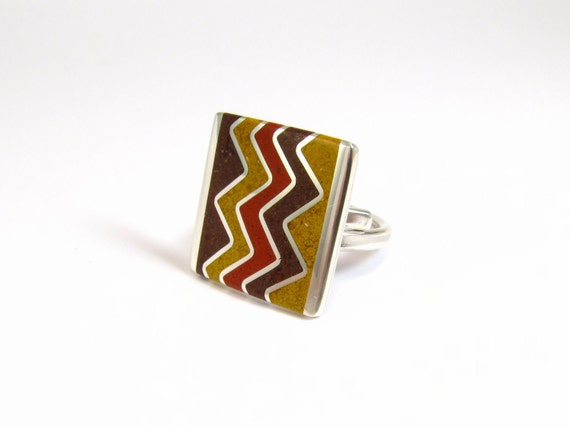 Sterling Silver Ring, Chevron, ZigZag, Geometric, Contemporary, Modern