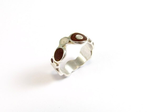 Sterling Silver Ring, Color, Bubbles, White, Chocolate, Contemporary, Modern, Minimal
