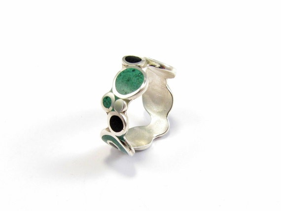 Sterling Silver Ring - Bubbles - Black and Green - Modern Ring - Color Circles