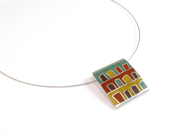 Sterling Silver Pendant - Doors with Mountain View - OOAK - Brown Terra Tones