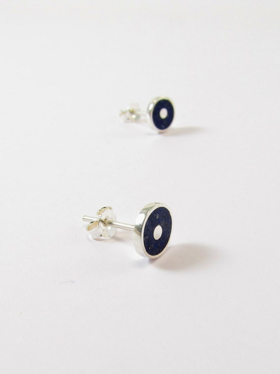 Sterling Silver Earrings - Blue Discs - Ear Studs - Galaxy, Modern, Contemporary, Minimal