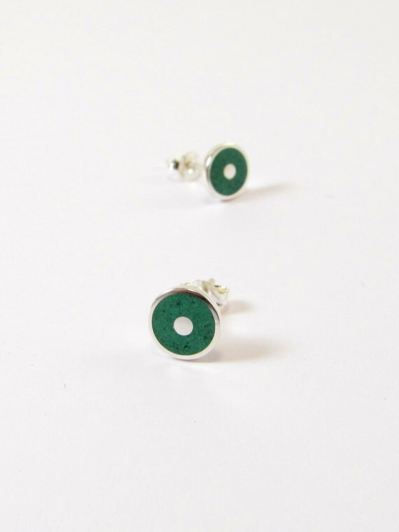 Sterling Silver Earrings, Green Discs, Ear Studs, Modern, Contemporary, Minimal
